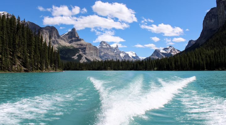 Scenic boating views in Alberta